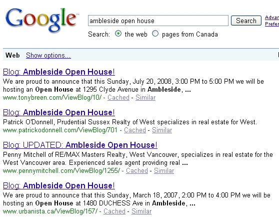 Screen Capture of a Google Search for Ambleside Open House